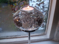 German Christmas Tall Crystal Glass & Nickle Tea Light Holder,Winter Story Design