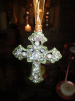 Danish Designed Crystal Christmas Crucifix Tree Hanging Decoration