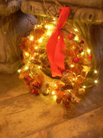 The Wreath with the Fairy Led Lights Lit
