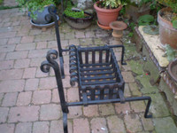 1930's FRENCH LARGE CAST IRON FIRE DOG GRATE BASKET,EXCELLENT CONDITION.