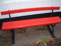 Victorian English railway station bench,architectural salvage,garden reclamation,cast iron and oak