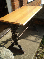 Wonderful Victorian Oak and Cast iron conservatory or garden table,vintage chic,reclamation
