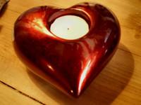 German Romantic glass heart tea-lite holder,burgandy red,Valentine,Wedding Decoration