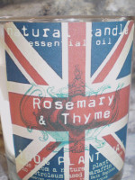 Patriotic british Natural Soya plant Wax Union Jack Rosemary & Thyme herb scented candle votive