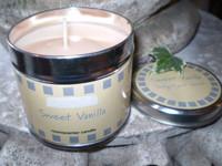 Natural wax sweet vanilla scented candle tin