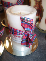 British Christmas Cinnamon,Cloves and Orange scented Roomscenter pillar candle,75 hours burn time