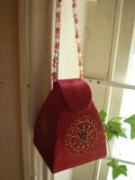 Austrian velour burgandy red beaded & embriodery Jewellery Box,Bag