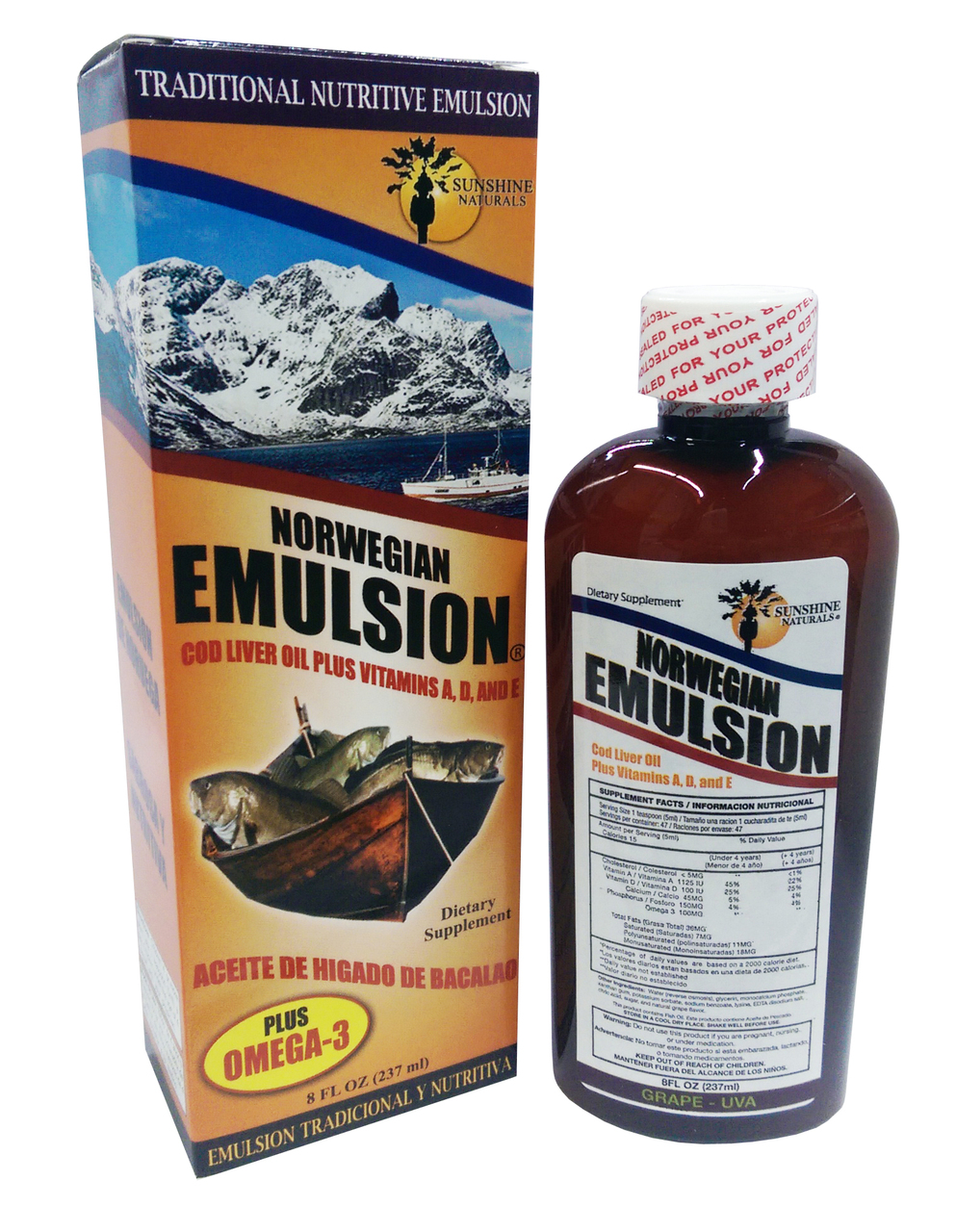 Norwegian Emulsion Cod Liver Oil + Omega 3 Grape Flavor