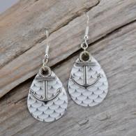 Silver Scale ANCHOR Earrings! Sterling Ear wire.