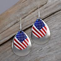 American flag earrings with a silver tone accent piece.