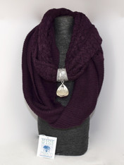 INFINITY SCARF WITH HANDMADE SCARF CLIP.  SET COLOR: PLUM