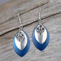 DEEP BLUE SPARKLE HEART EARRINGS MARQUIS SHAPE. STERLING SILVER EAR WIRES.