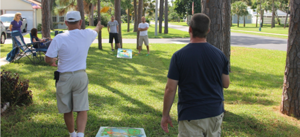 Cornhole board game with family and friends