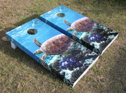 This is an example of how the side wrap graphics look on our standard series Cornhole Boards