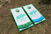 Slimline Series Cornhole Boards with your custom side wrap graphic images applied.
