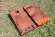 Standard Series Cornhole Boards - Stained, with brown and orange bags