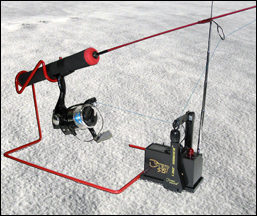 Ice fishing angling remote paging transmitter for Ice fishing pole case