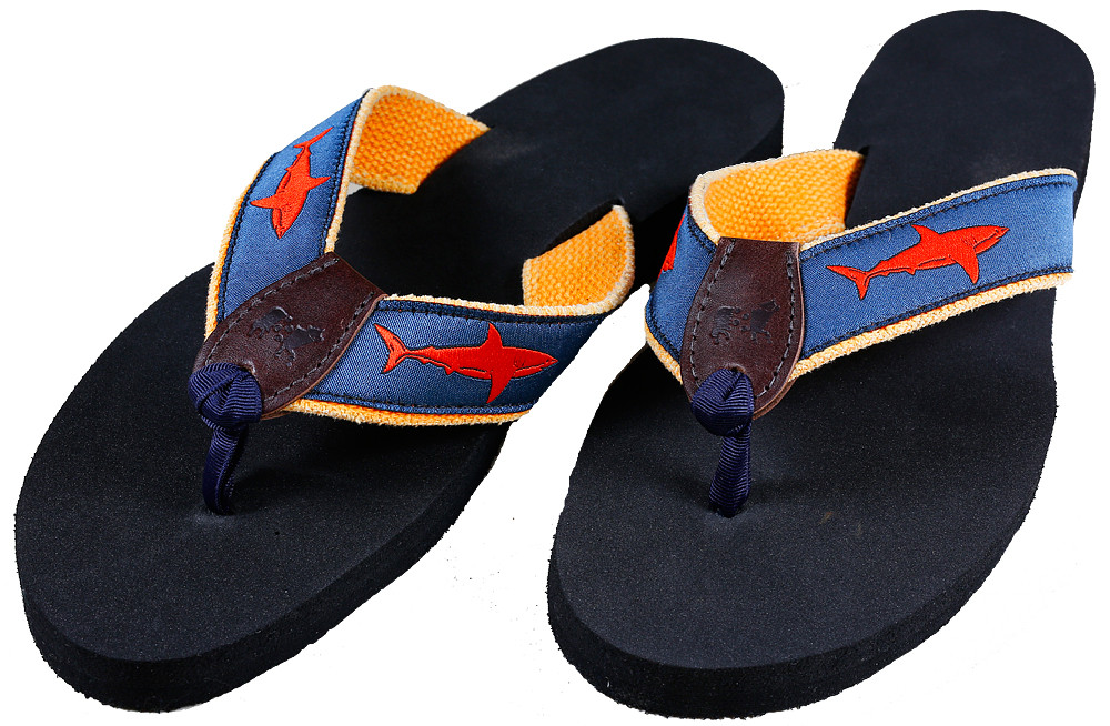 Shark (blood orange) Flip Flops - Belted Cow Company