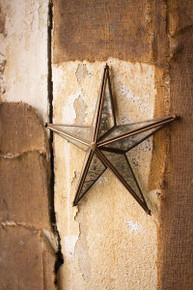 ANTIQUE BRASS AND GLASS WALL HANGING STAR