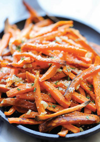 Baked Garlic Sweet Potato Fries - (Free Recipe below)