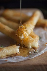 Baked Goat Cheese Cigars w/ Honey & Thyme - (Free Recipe below)