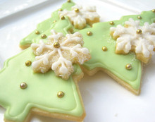 Christmas Tree Sugar Cookies  - One Dozen