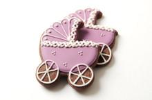 Baby Carriage Sugar Cookies - One Dozen - Vanilla or Chocolate