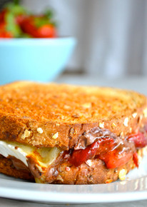 Roasted Strawberry & Chocolate Brie Grilled Cheese - (Free Recipe below)