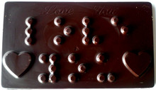 "Braille Dark Chocolate Bars ""I Love You"" and ""Thank You"""