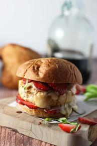 Chicken, Strawberry, Bacon, Brie Burger - (Free Recipe below)
