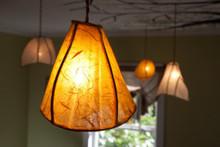 Camellia Pendant Hanging Light in Sunset Orange