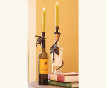 Grapevine Wrap Wine Bottle Candle Holder