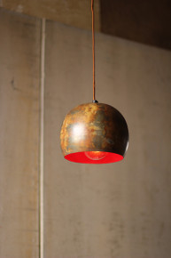 BOWL PENDANT LAMP \ RUSTIC WITH RED INTERIOR