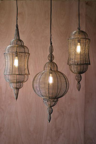 Large wire pendant lantern with antique gold finish - 3 Styles