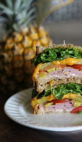 Grilled Pineapple Ham and Cheese Sandwich - (Free Recipe below)