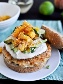 Shrimp Burgers with Chipotle Cream and  Coconut Peach Salsa - (Free Recipe below)