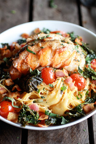 Brown Butter Lobster, Bacon and Crispy Kale and Fontina Pasta - (Free Recipe below)