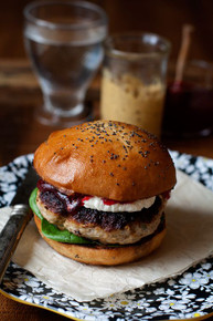 Herbed Turkey Burgers with Goat Cheese and Cranberry Sauce - (Free Recipe below)