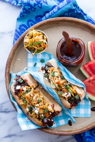 Grilled Korean BBQ Short Rib Dogs w/Sweet Peach Relish + Spicy Korean Slaw - (Free Recipe below).