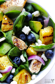 Grilled Pineapple, Chicken and Avocado Salad - (Free Recipe below)
