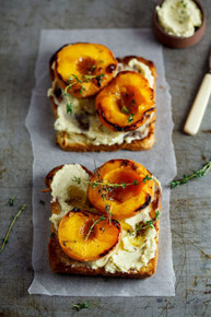 Brioche with Thyme Roasted Peaches and Vanilla Mascarpone - (Free Recipe below)