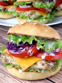 Grilled Chicken Burgers With Yogurt Pesto Sauce - (Free Recipe below)
