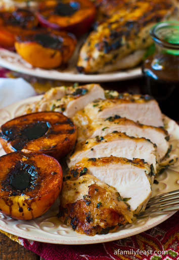 Grilled Basil Garlic Chicken Breasts with Balsamic Grilled Peaches ...