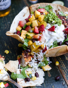 Chipotle Mahi Mahi Burrito Bowls with Coconut Cilantro Lime Rice, Spicy Strawberry Mango Salsa - (Free Recipe below)