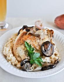 Beer Risotto with Mushroom Garlic Chicken - (Free Recipe below)