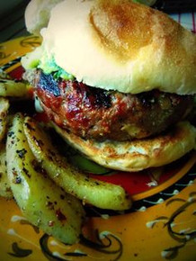 Chile Verde and Cheese Stuffed Grilled Burger - (Free Recipe below)