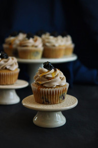 Wild Blackberry Vanilla Cupcakes with Sugared Vanilla Icing - One Dozen