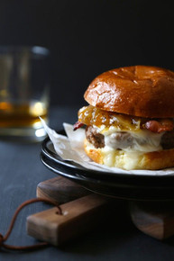 Bacon and Brie Burger with Spicy Peach Caramelized Onions - (Free Recipe below)