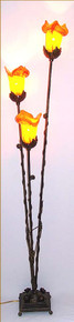 3 Tulip Glass Art Decor Iron Floor Lamp