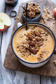 Brie + Cheddar Apple Beer Soup with Cinnamon Pecan Oat Crumble - (Free Recipe below)